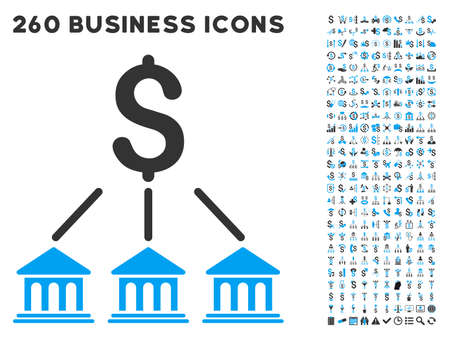 tree service business: Bank Organization icon within 260 vector business pictogram set. Style is bicolor flat symbols, light blue and gray colors, white background. Illustration