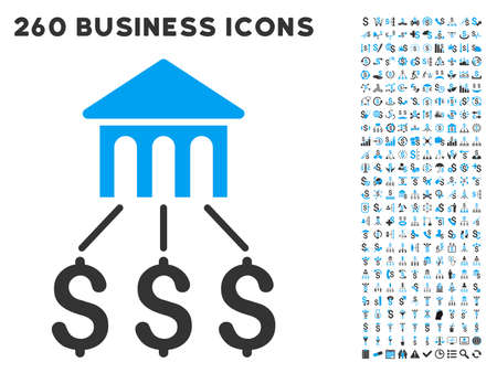 Bank Structure icon within 260 vector business pictogram set. Style is bicolor flat symbols, light blue and gray colors, white background.