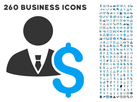 economist: Banker icon within 260 vector business pictogram set. Style is bicolor flat symbols, light blue and gray colors, white background. Illustration