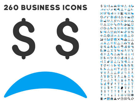payphone: Bankrupt Sad Emotion icon within 260 vector business pictogram set. Style is bicolor flat symbols, light blue and gray colors, white background.
