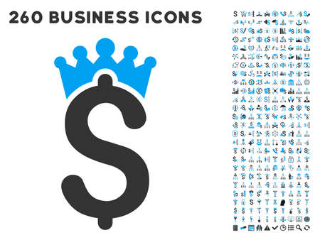 crown of light: Business Crown icon within 260 vector business pictogram set. Style is bicolor flat symbols, light blue and gray colors, white background.