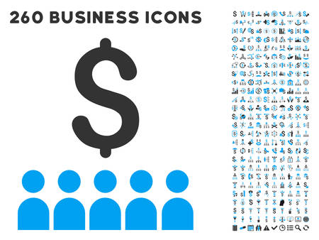 outs: Business Education icon within 260 vector business pictogram set. Style is bicolor flat symbols, light blue and gray colors, white background.