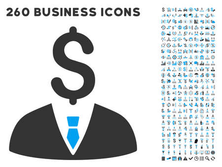 Businessman icon within 260 vector business pictogram set. Style is bicolor flat symbols, light blue and gray colors, white background. Ilustracja
