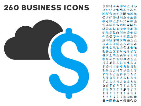 featured: Cloud Banking icon within 260 vector business pictogram set. Style is bicolor flat symbols, light blue and gray colors, white background.