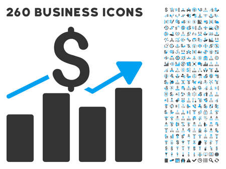 Business Chart icon within 260 vector business pictogram set. Style is bicolor flat symbols, light blue and gray colors, white background.