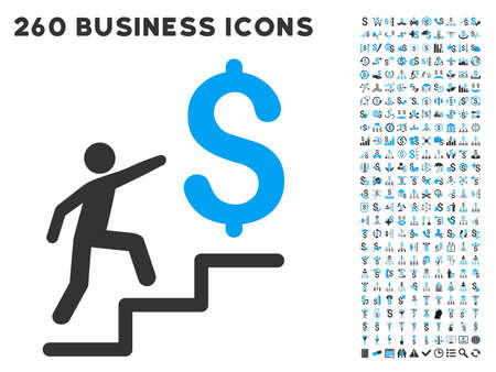 medical distribution: Business Stairs icon within 260 vector business pictogram set. Style is bicolor flat symbols, light blue and gray colors, white background.