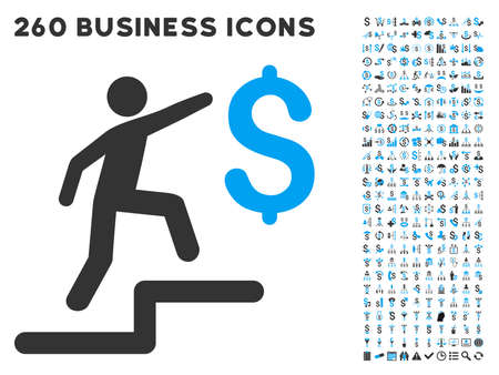 laundering: Business Steps icon within 260 vector business pictogram set. Style is bicolor flat symbols, light blue and gray colors, white background.