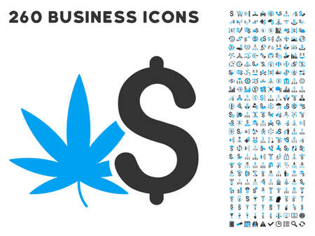 Cannabis Business icon within 260 vector business pictogram set. Style is bicolor flat symbols, light blue and gray colors, white background.