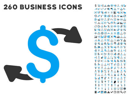 outs: Cash Outs icon within 260 vector business pictogram set. Style is bicolor flat symbols, light blue and gray colors, white background.