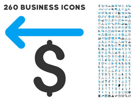 laundering: Cashback icon within 260 vector business pictogram set. Style is bicolor flat symbols, light blue and gray colors, white background.