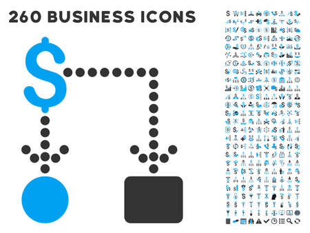 cashflow: Cashflow icon within 260 vector business pictogram set. Style is bicolor flat symbols, light blue and gray colors, white background. Illustration
