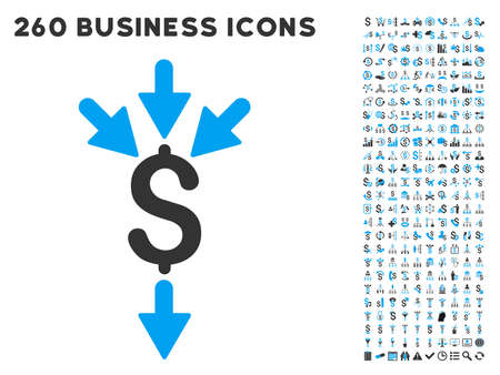 aggregator: Combine Payments icon within 260 vector business pictogram set. Style is bicolor flat symbols, light blue and gray colors, white background.