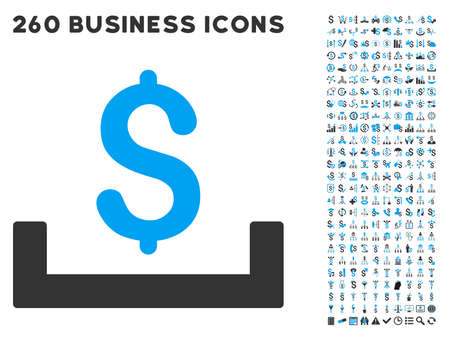 placement: Deposit Placement icon within 260 vector business pictogram set. Style is bicolor flat symbols, light blue and gray colors, white background. Illustration