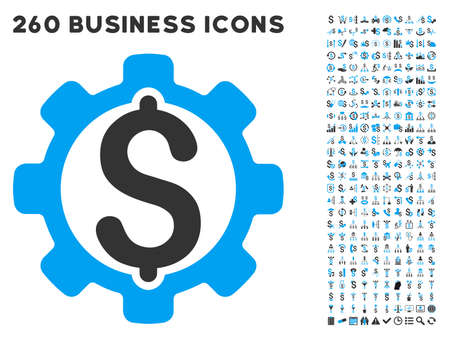 price development: Development Price icon within 260 vector business pictogram set. Style is bicolor flat symbols, light blue and gray colors, white background. Illustration