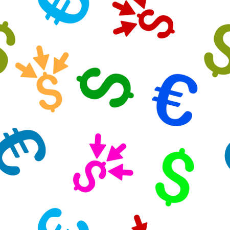 takings: Aggregate Payment vector repeatable pattern with dollar and euro currency symbols. Style is flat colored icons on a white background. Illustration