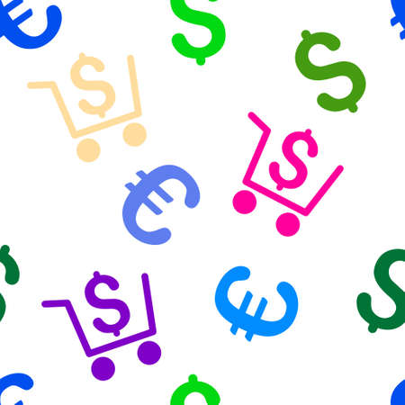 checkout: Checkout glyph repeatable pattern with dollar and euro currency symbols. Style is flat colored icons on a white background. Stock Photo
