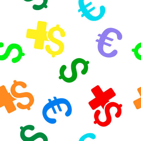 doctor with dollars: Medical Business glyph repeatable pattern with dollar and euro currency symbols. Style is flat colored icons on a white background.