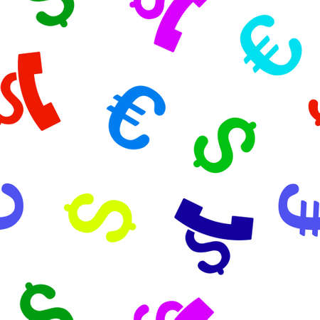 pay phone: Pay Phone Call glyph repeatable pattern with dollar and euro currency symbols. Style is flat colored icons on a white background.