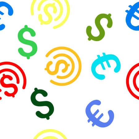 money sphere: Money Sphere glyph repeatable pattern with dollar and euro currency symbols. Style is flat colored icons on a white background. Stock Photo