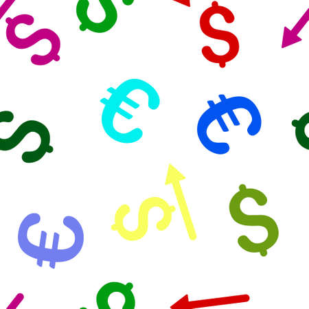 remake: Moneyback glyph repeatable pattern with dollar and euro currency symbols. Style is flat colored icons on a white background. Stock Photo