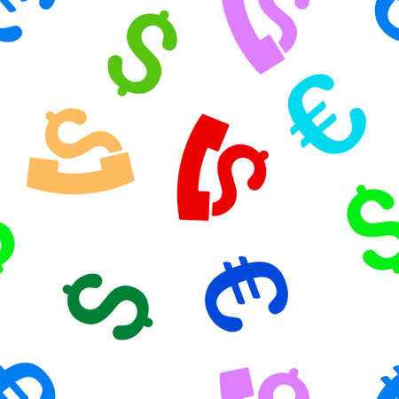 payphone: Payphone glyph repeatable pattern with dollar and euro currency symbols. Style is flat colored icons on a white background.