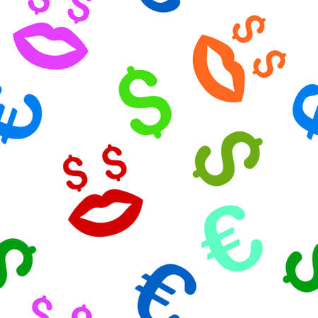 prostitution: Prostitution Smiley glyph repeatable pattern with dollar and euro currency symbols. Style is flat colored icons on a white background. Stock Photo