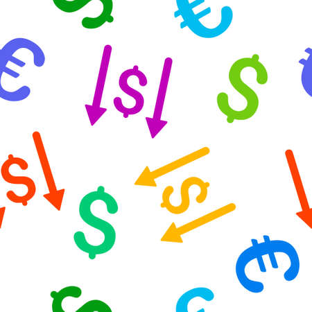 takings: Receive Money glyph repeatable pattern with dollar and euro currency symbols. Style is flat colored icons on a white background.