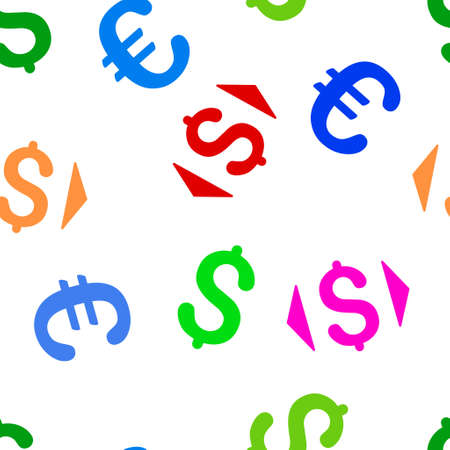 regulate: Regulate Price glyph repeatable pattern with dollar and euro currency symbols. Style is flat colored icons on a white background.