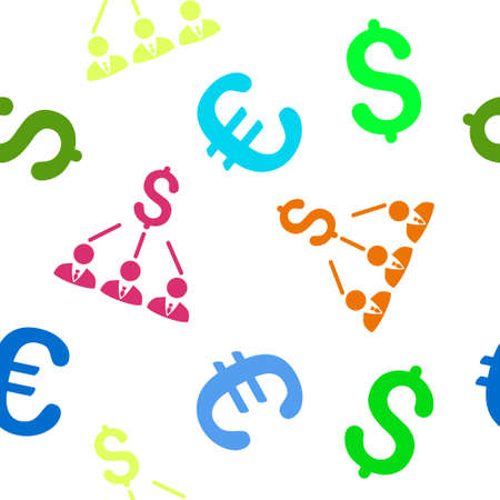shareholders: Shareholders glyph repeatable pattern with dollar and euro currency symbols. Style is flat colored icons on a white background. Stock Photo
