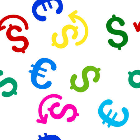 repay: Undo Payment glyph repeatable pattern with dollar and euro currency symbols. Style is flat colored icons on a white background. Stock Photo