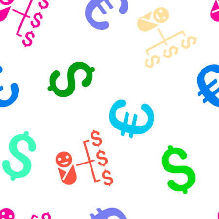 distribute: Baby Expenses vector repeatable pattern with dollar and euro currency symbols. Style is flat colored icons on a white background.