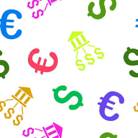 bank branch: Bank Payments vector repeatable pattern with dollar and euro currency symbols. Style is flat colored icons on a white background. Illustration
