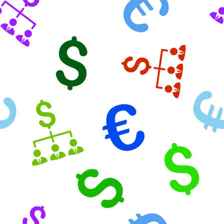 command structure: Banker Links vector repeatable pattern with dollar and euro currency symbols. Style is flat colored icons on a white background.