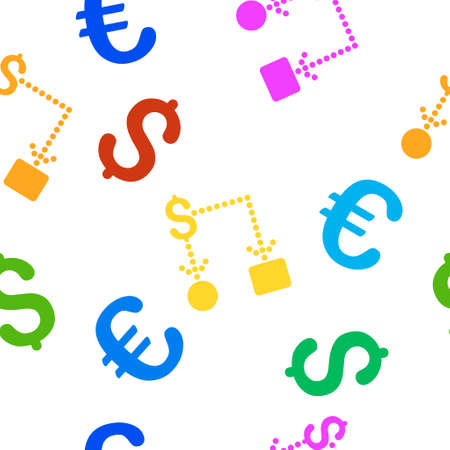 cashflow: Cashflow vector repeatable pattern with dollar and euro currency symbols. Style is flat colored icons on a white background.