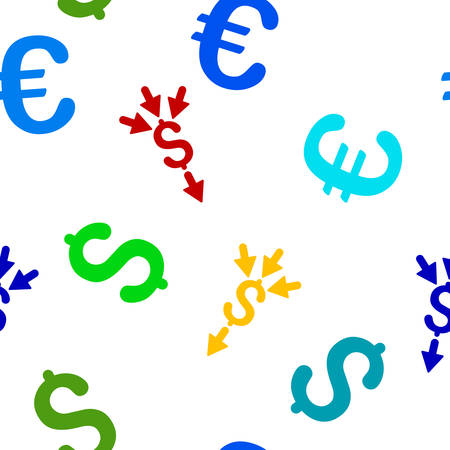 accretion: Combine Payments vector repeatable pattern with dollar and euro currency symbols. Style is flat colored icons on a white background.