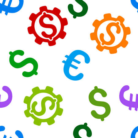 price development: Development Price vector repeatable pattern with dollar and euro currency symbols. Style is flat colored icons on a white background. Illustration