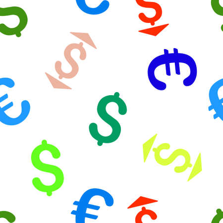 lower value: Dollar Up Down vector repeatable pattern with dollar and euro currency symbols. Style is flat colored icons on a white background. Illustration