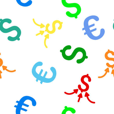 accretion: Financial Accumulator vector repeatable pattern with dollar and euro currency symbols. Style is flat colored icons on a white background. Illustration
