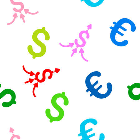 Financial Aggregator vector repeatable pattern with dollar and euro currency symbols. Style is flat colored icons on a white background.