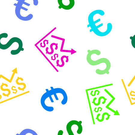 financial graph: Financial Graph vector repeatable pattern with dollar and euro currency symbols. Style is flat colored icons on a white background. Illustration