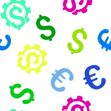 config: Financial Industry vector repeatable pattern with dollar and euro currency symbols. Style is flat colored icons on a white background.