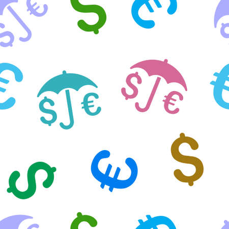 financial protection: Financial Protection vector repeatable pattern with dollar and euro currency symbols. Style is flat colored icons on a white background.