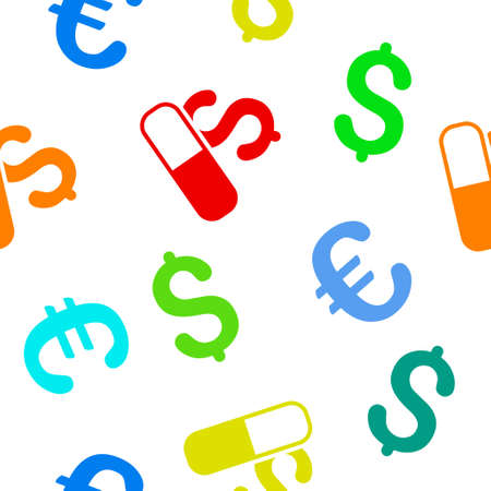 medication: Medication Business vector repeatable pattern with dollar and euro currency symbols. Style is flat colored icons on a white background.