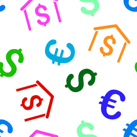 habitation: Money Garage vector repeatable pattern with dollar and euro currency symbols. Style is flat colored icons on a white background.