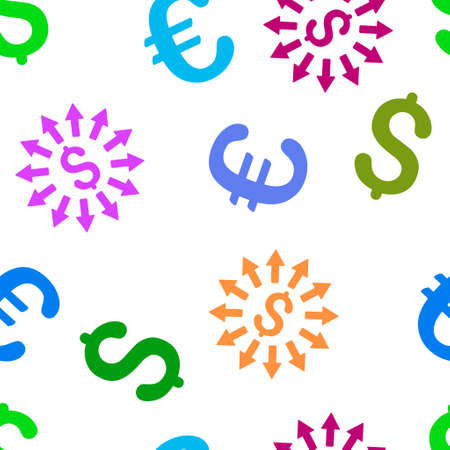 bank branch: Money Distribution vector repeatable pattern with dollar and euro currency symbols. Style is flat colored icons on a white background. Illustration