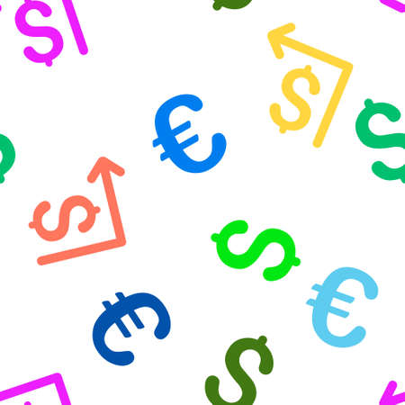 moneyback: Moneyback vector repeatable pattern with dollar and euro currency symbols. Style is flat colored icons on a white background.