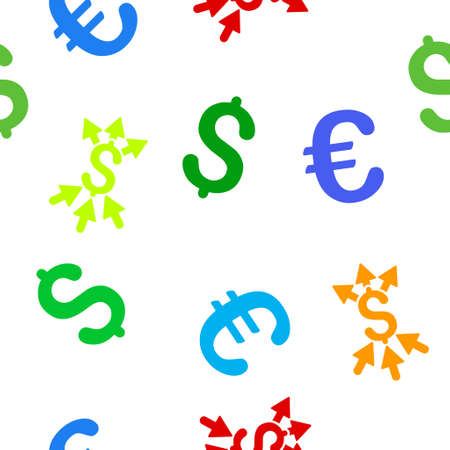 takings: Payment Broker vector repeatable pattern with dollar and euro currency symbols. Style is flat colored icons on a white background.