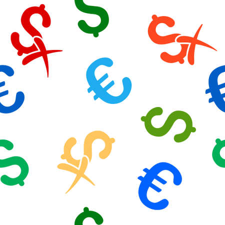 reject: Reject Money vector repeatable pattern with dollar and euro currency symbols. Style is flat colored icons on a white background.