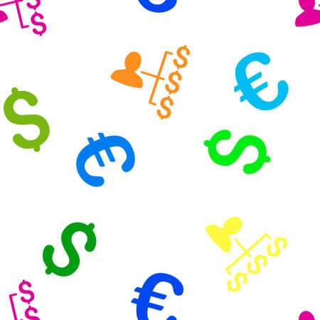 payer: Payer Relations vector repeatable pattern with dollar and euro currency symbols. Style is flat colored icons on a white background.