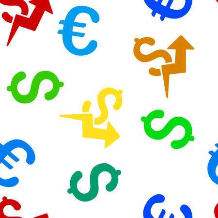 sales growth: Sales Growth vector repeatable pattern with dollar and euro currency symbols. Style is flat colored icons on a white background. Illustration